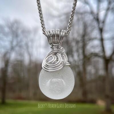 Adorable Sea Glass Bottle Bottom Pendant Necklace