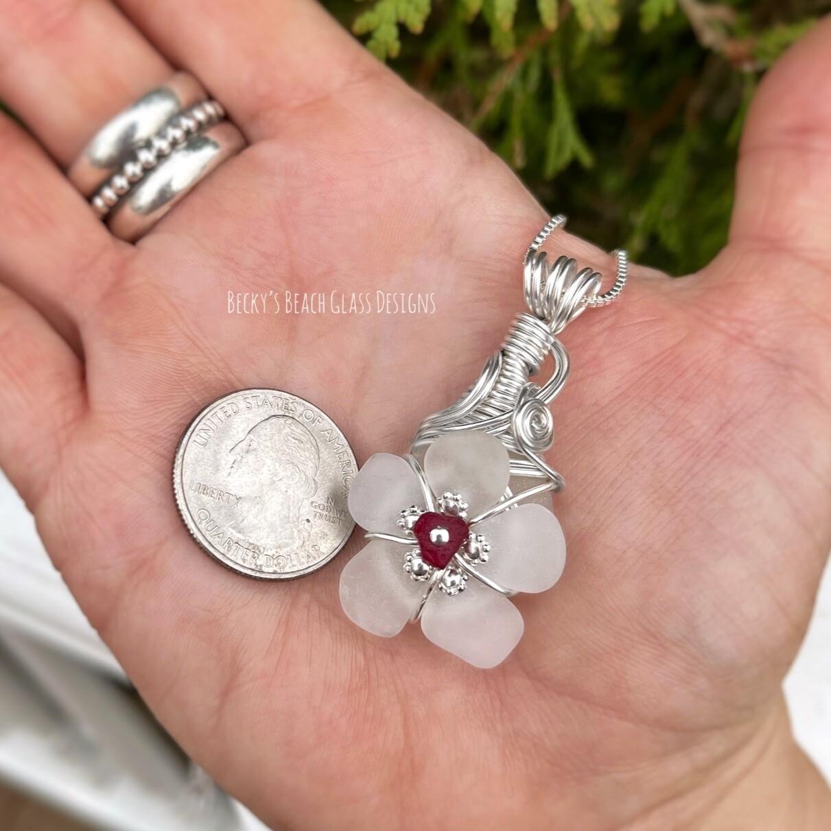 Petite White w/Red Center Sea Glass Flower Pendant Necklace