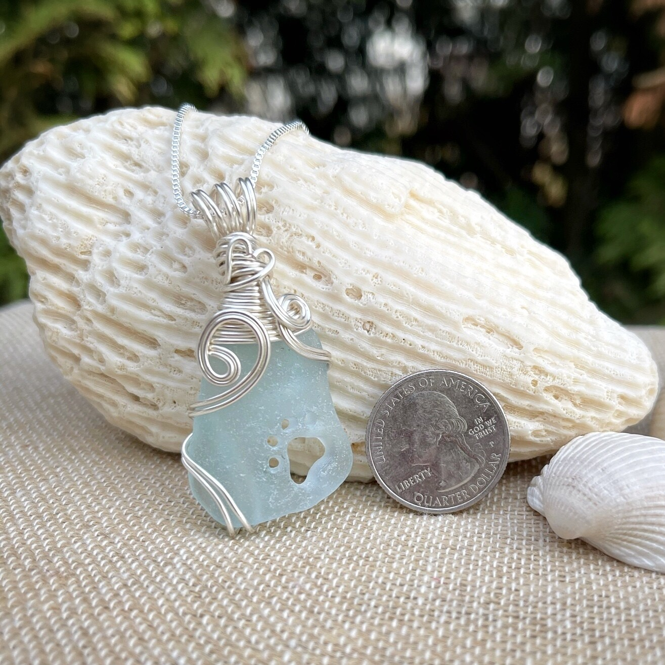 Sea Glass Paw Print Necklace