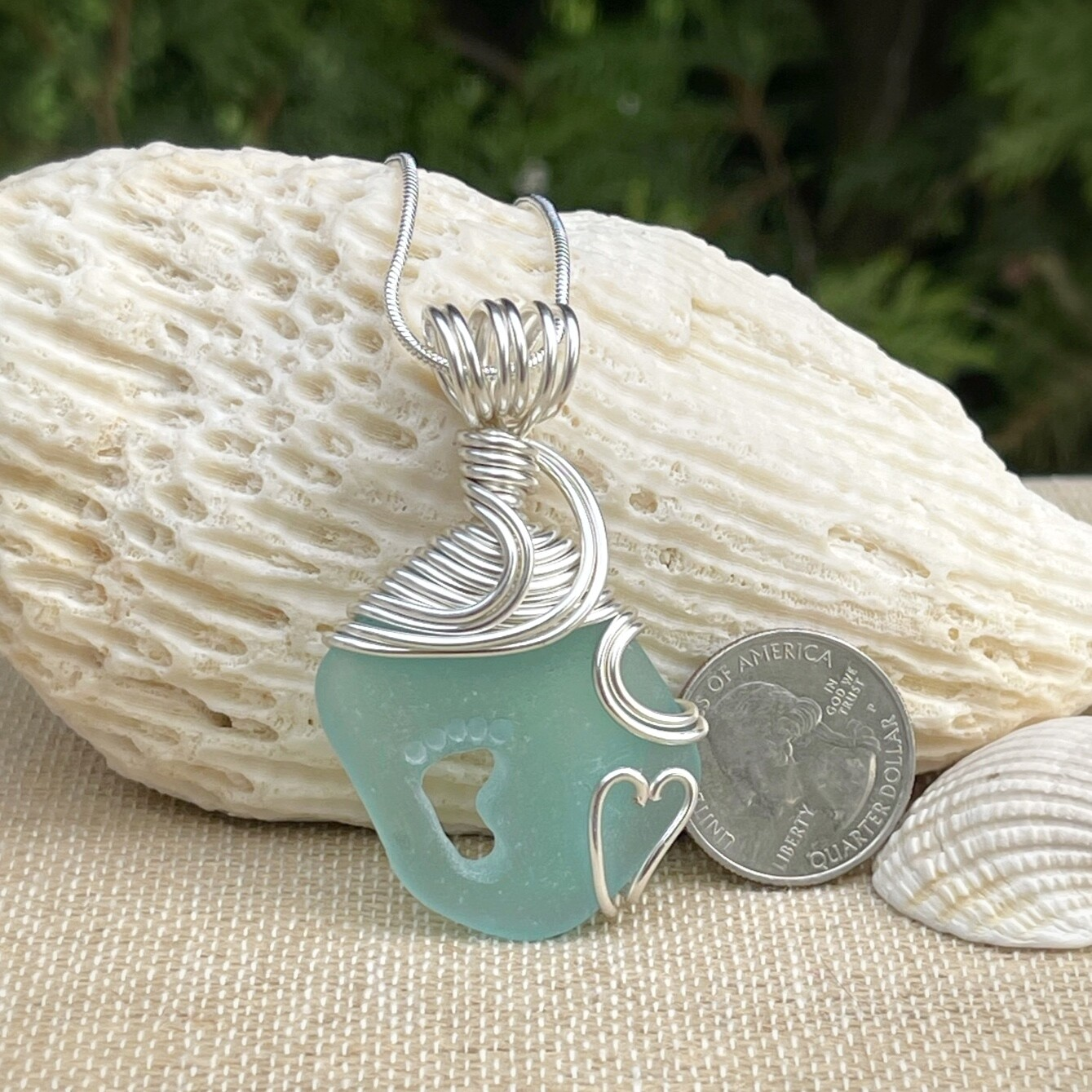 Sea Glass Foot Print Necklace