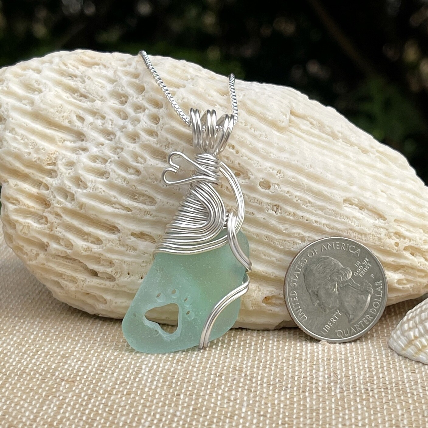 Sea Glass Paw Print Necklace