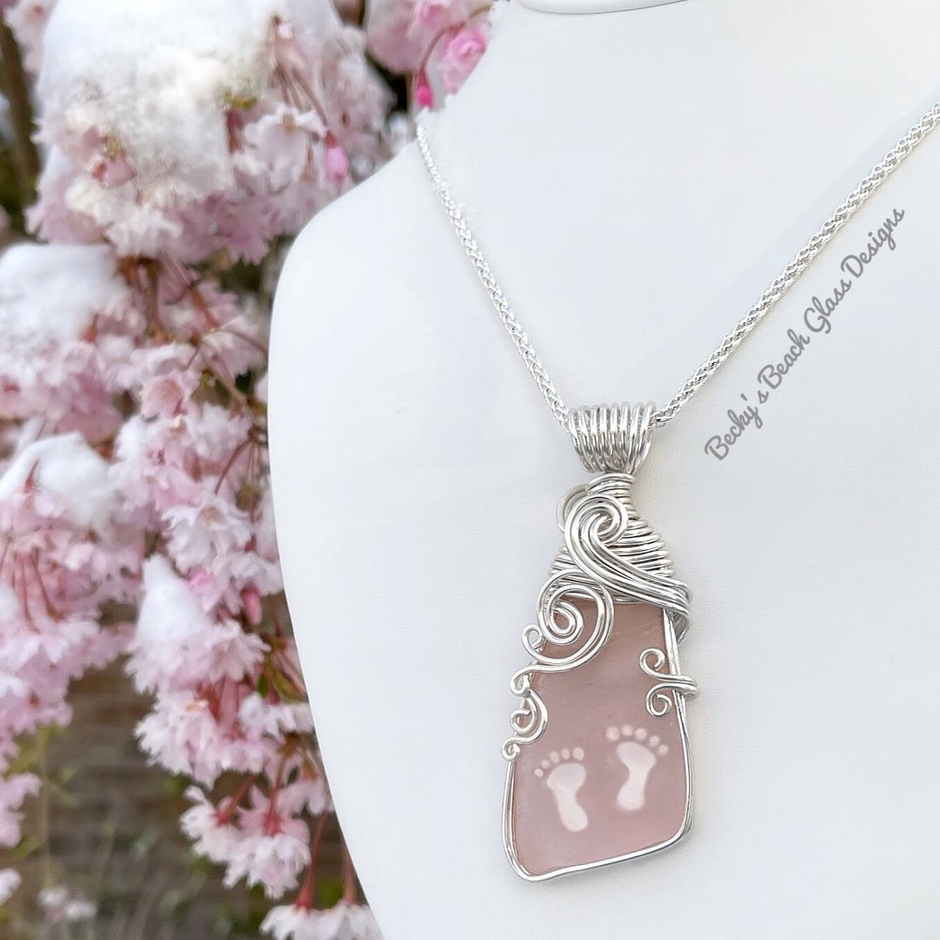 Perfectly Pink Sea Glass Double Foot Print Necklace