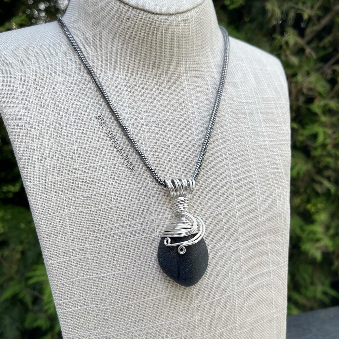Black Scotland Pirate Sea Glass Necklace