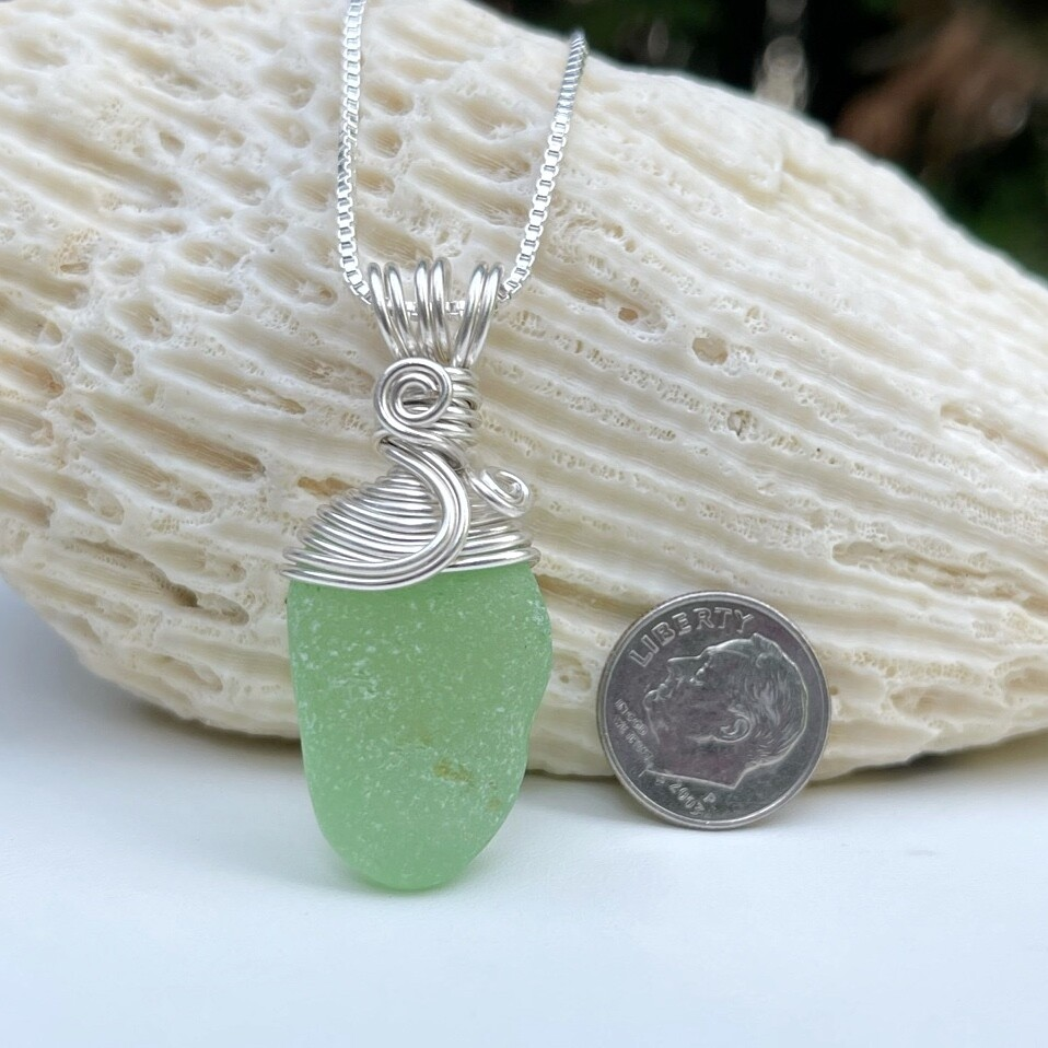 Spring Green Sea Glass Pendant Necklace