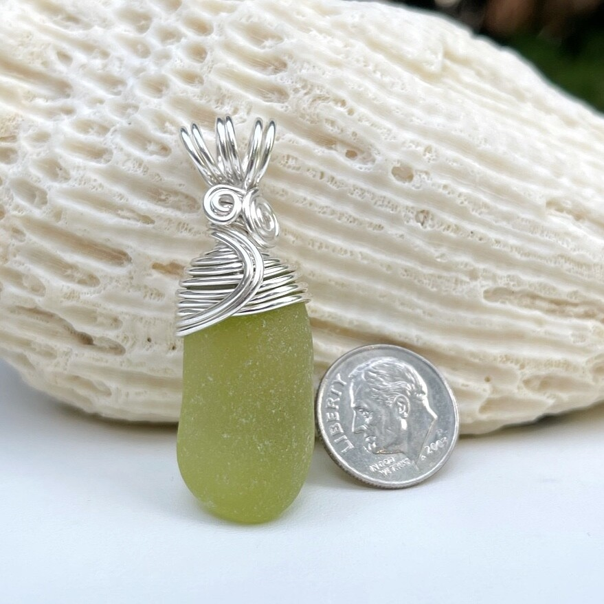 Olive Green Sea Glass Pendant Necklace