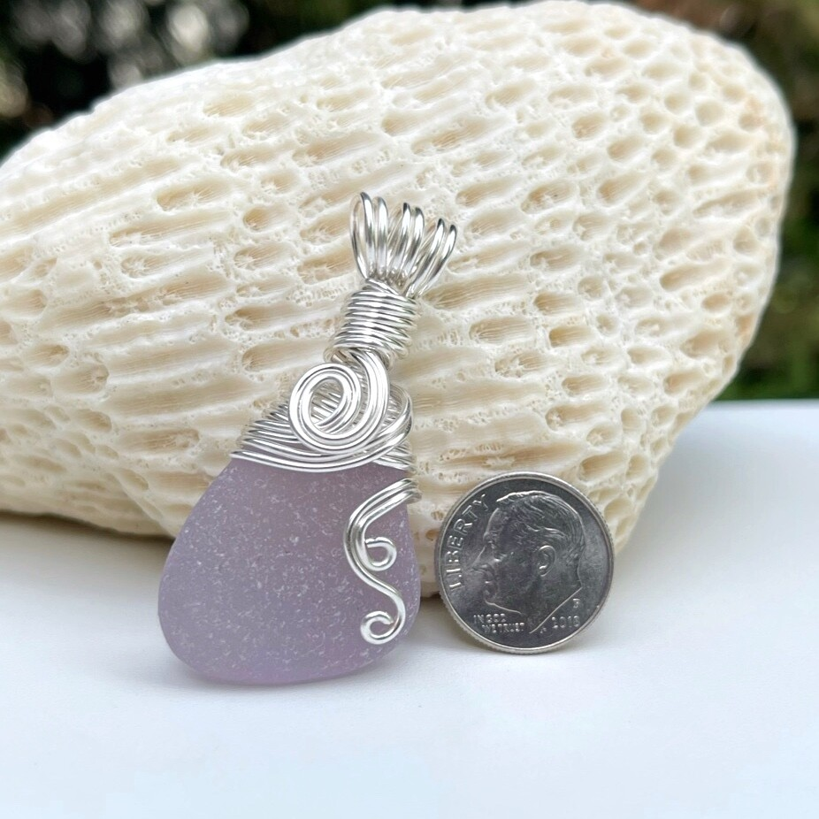 Lavender Neodymium Sea Glass Pendant Necklace