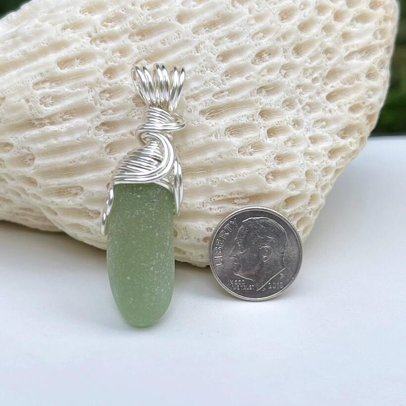 Sage Green Sea Glass Pendant Necklace