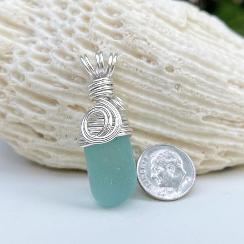 Aqua Sea Glass Pendant Necklace