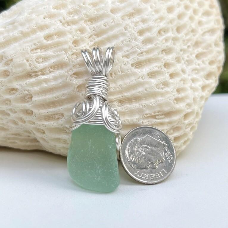 Sea Foam Sea Glass Pendant Necklace