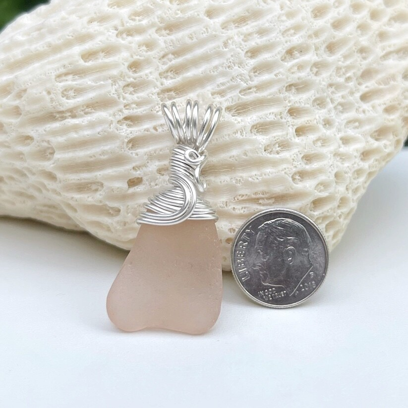 Peachy Pink Sea Glass Pendant Necklace