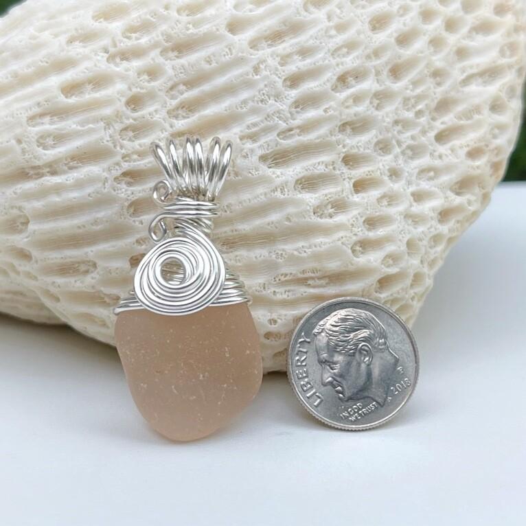 Peach Sea Glass Pendant Necklace