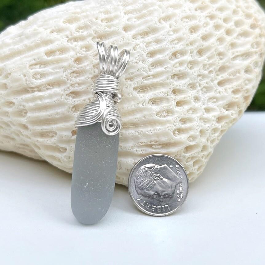 Soft Gray Sea Glass Pendant Necklace