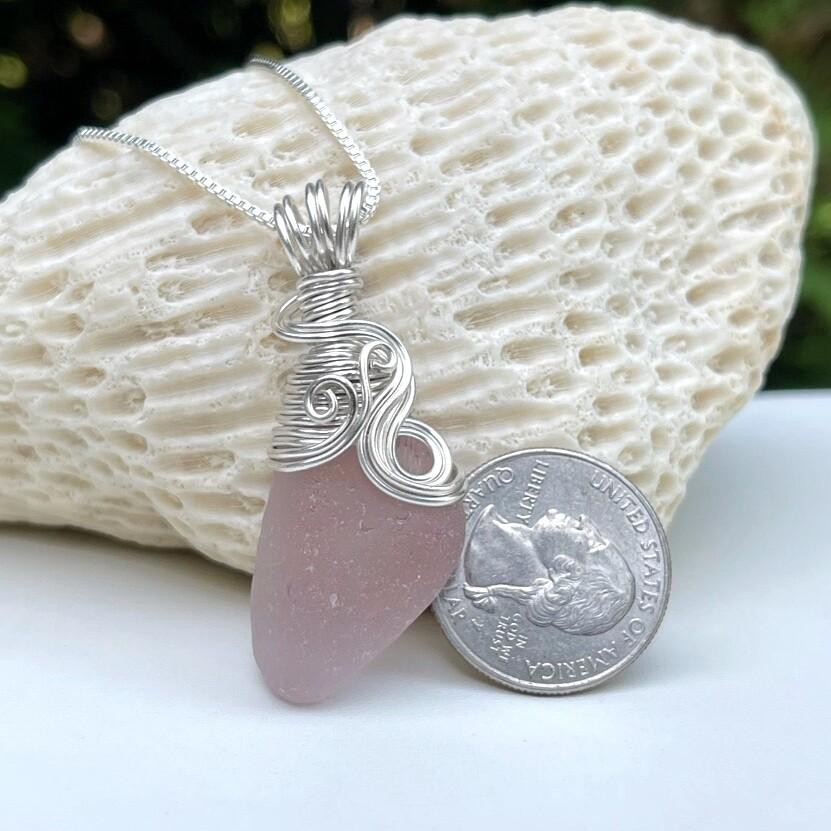 Amethyst Sea Glass Pendant Necklace