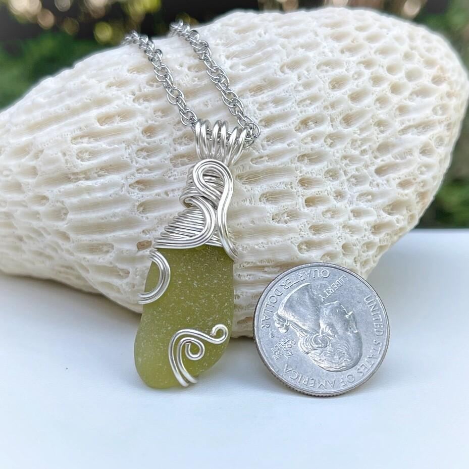 Olive Sea Glass Pendant Necklace