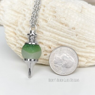 Green & Clear Sea Glass Marble Pendulum Necklace