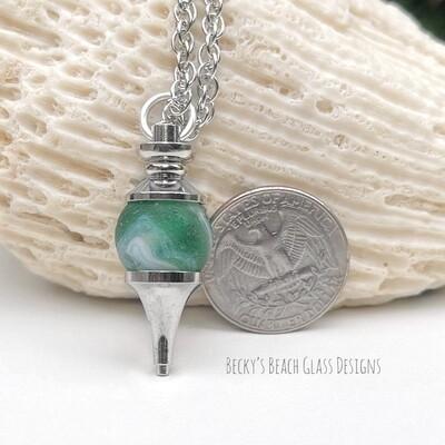 Green & White Swirled Sea Glass Marble Pendulum Necklace