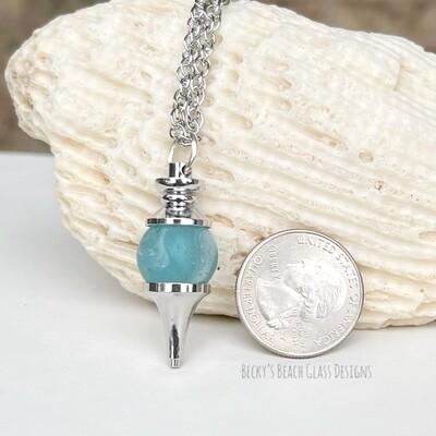 Aqua Soft Swirl Sea Glass Marble Pendulum Necklace