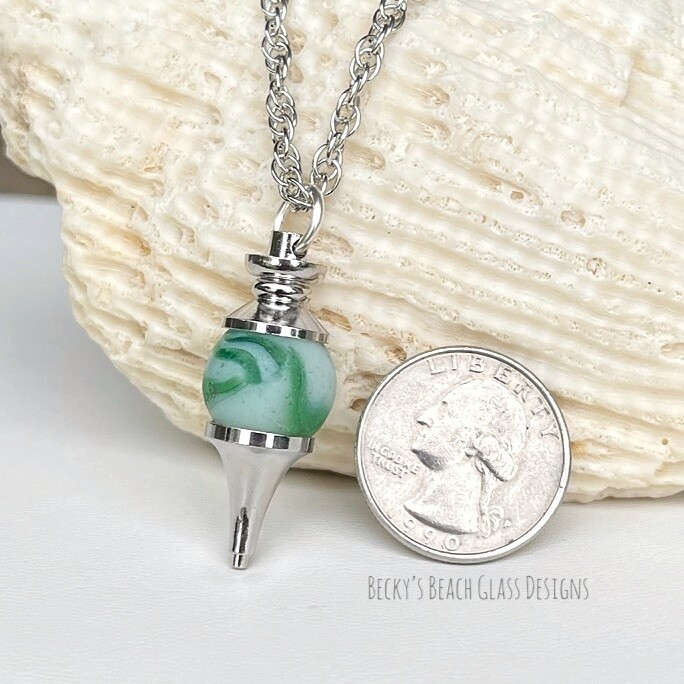 Green & White Opaque Sea Glass Marble Pendulum Necklace