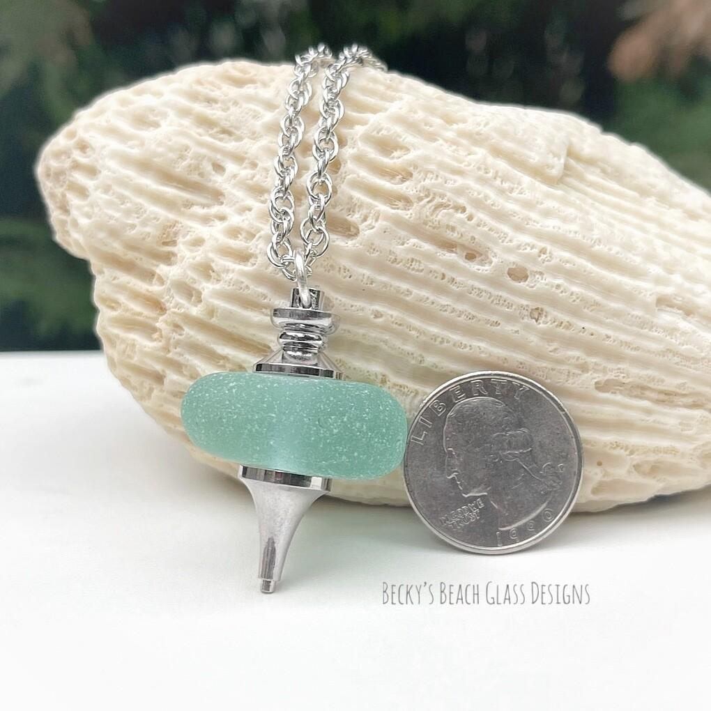 Aqua Sea Glass Pendulum Necklace