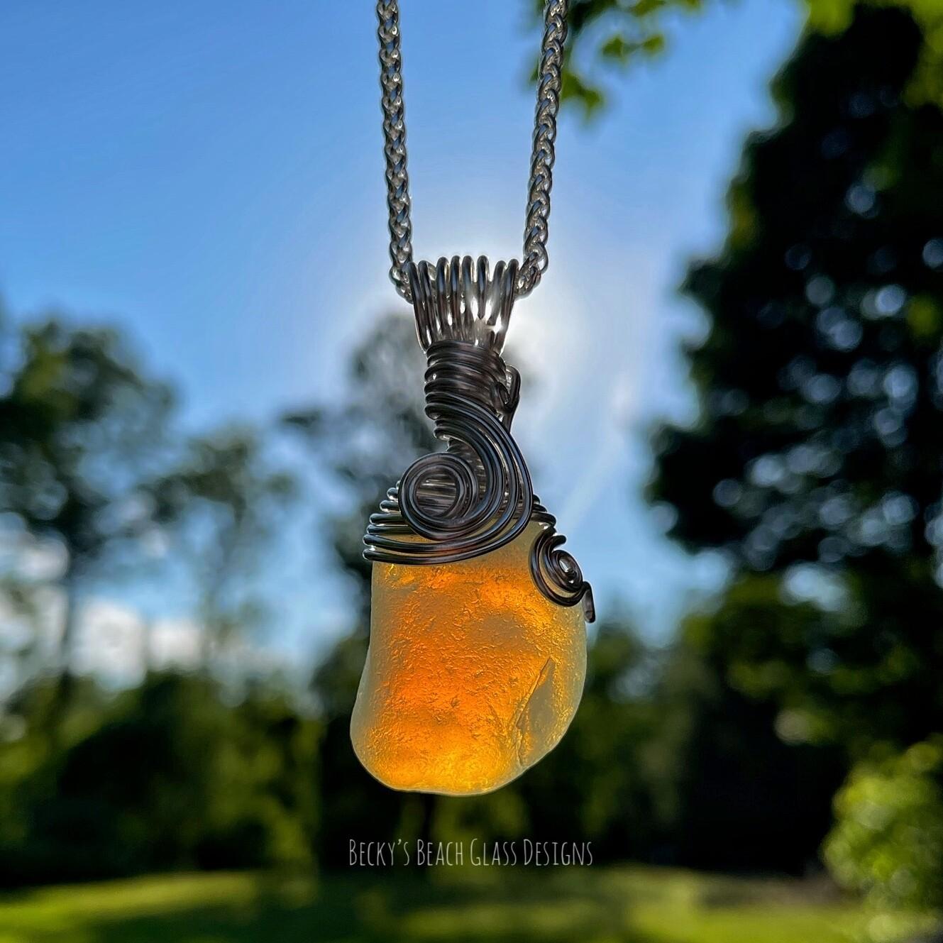 Amazing Opalescent Sea Glass Pendant Necklace