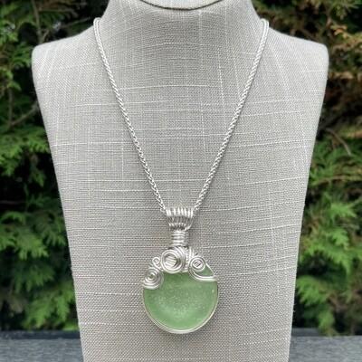 Soft Minty Green Sea Glass Bottle Bottom Pendant