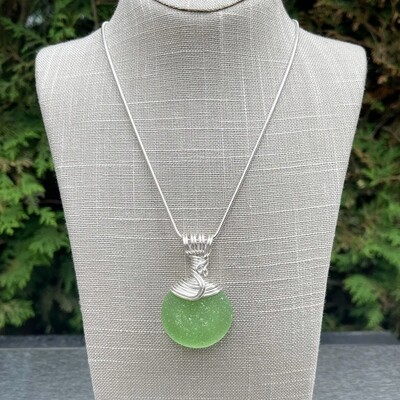 Green Sea Glass Bottle Bottom Pendant