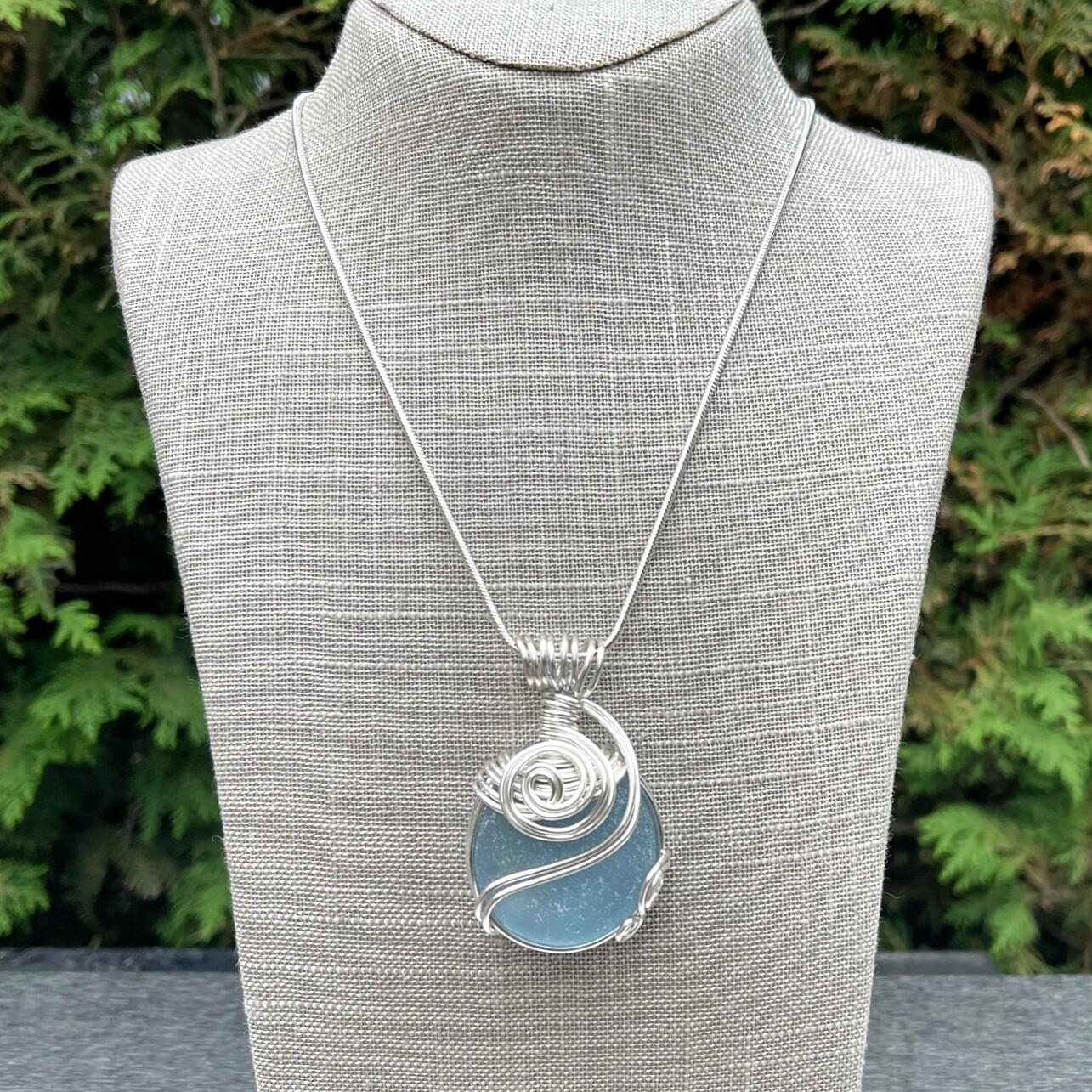 So Blue Sea Glass Bottle Bottom Pendant