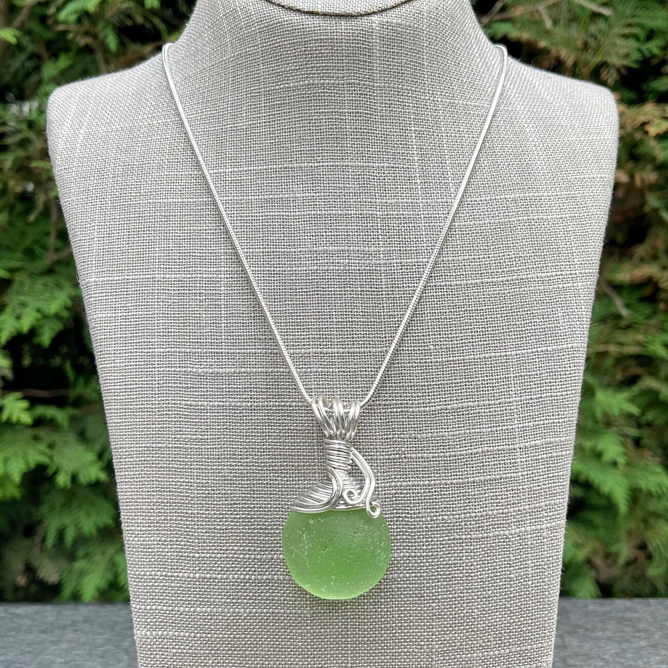 Petite Soft Green Sea Glass Domed Pendant