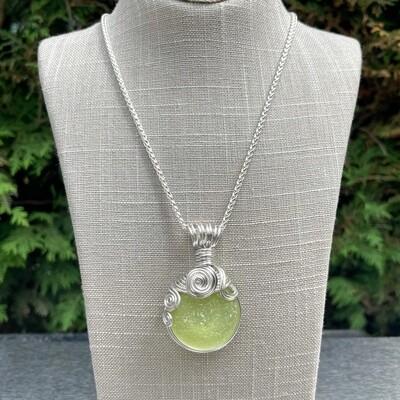 Lemon/Lime Sea Glass Bottle Bottom Pendant