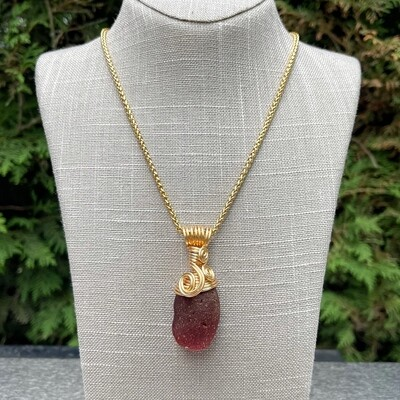 Blood Red Russian Sea Glass Necklace