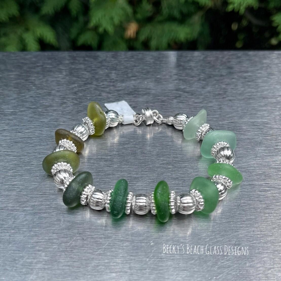 Sea Glass Bracelet W/Magnetic Clasp