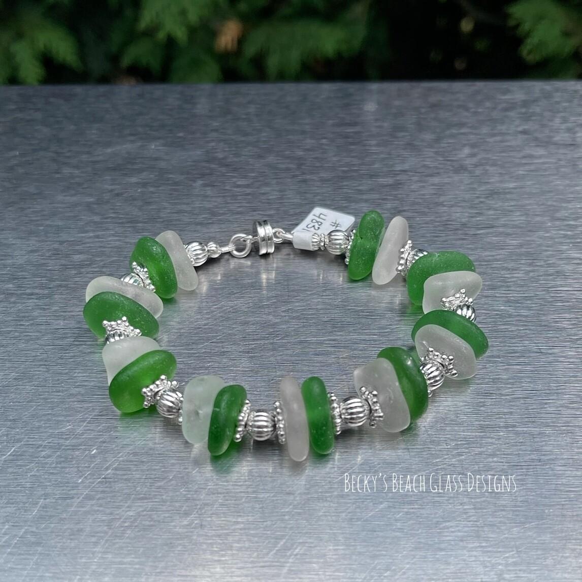 (Sold 7/24/21 Ashtabula Wine & Walleye Fest)  Sea Glass Bracelet W/Magnetic Clasp