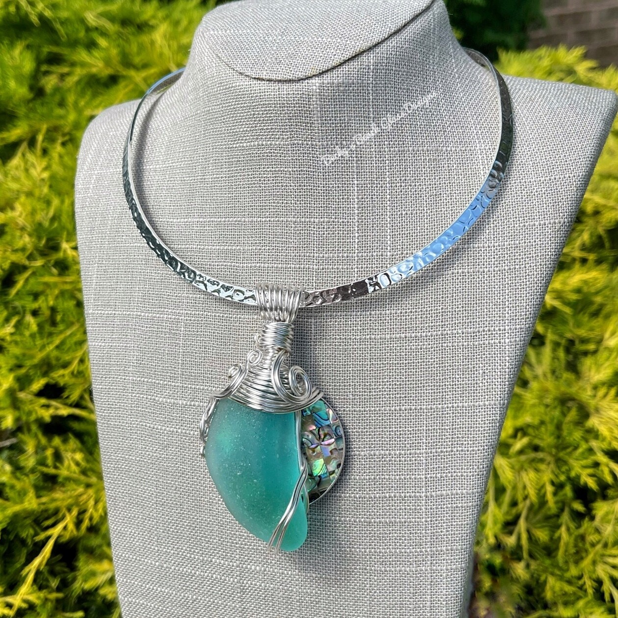 Perfect Pairing Sea Glass & Abalone Shell Necklace