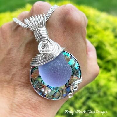 Purple Neodymium Sea Glass & Abalone Mosaic Shell Necklace