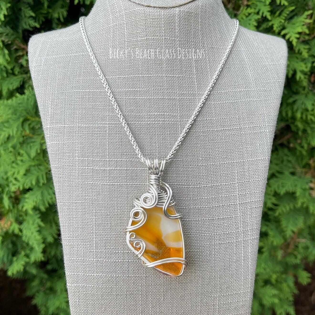 Orange and White Swirl English Art Glass Necklace