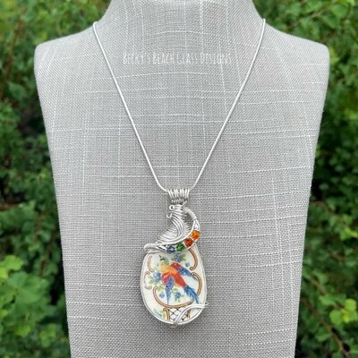 Exotic Feathered Friend Pottery Necklace