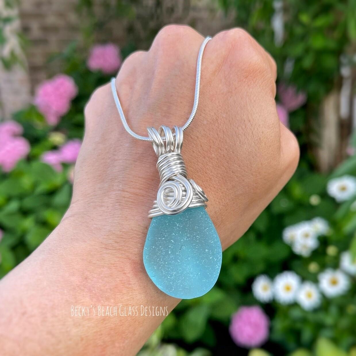 Amazing Bright Aqua Sea Glass Necklace