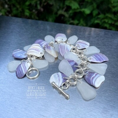 Seaglass & Wampum (Quahog) Cha Cha Bracelet