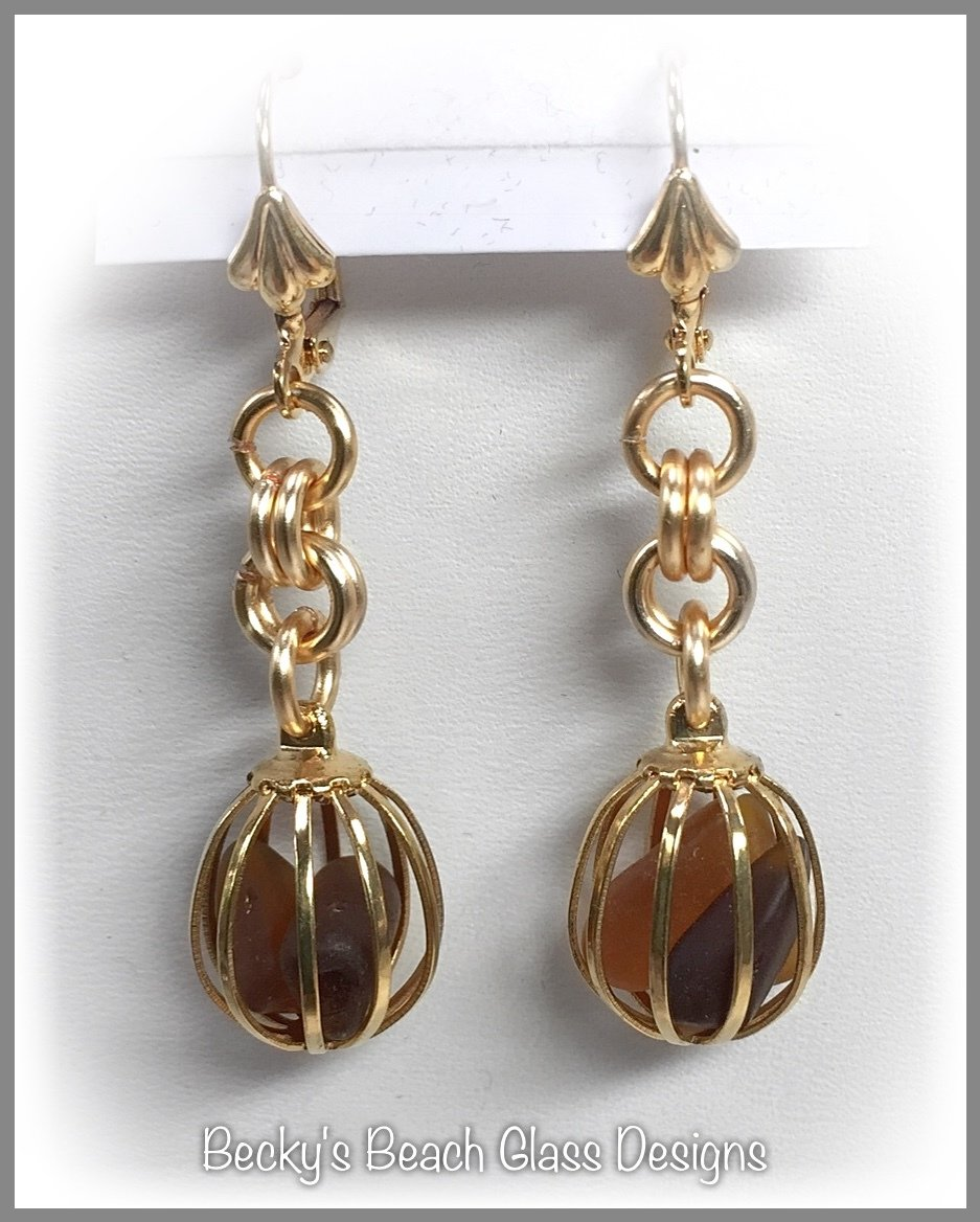 Gold Caged Brown Seaglass Earrings