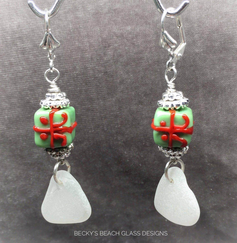 Festive Holiday Sea Glass Earrings