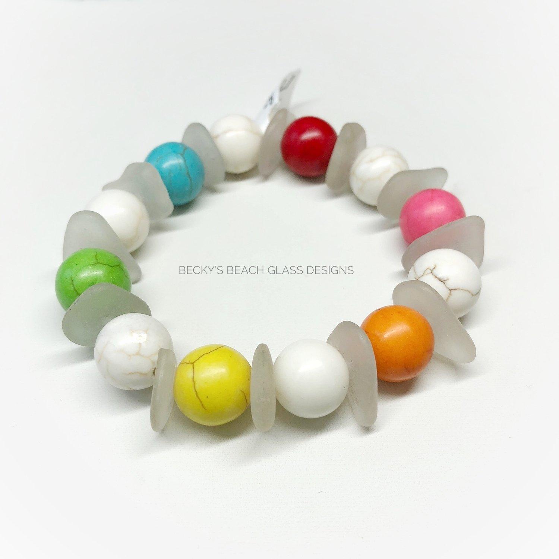Seaglass and Gemstone Stretchy Bracelet