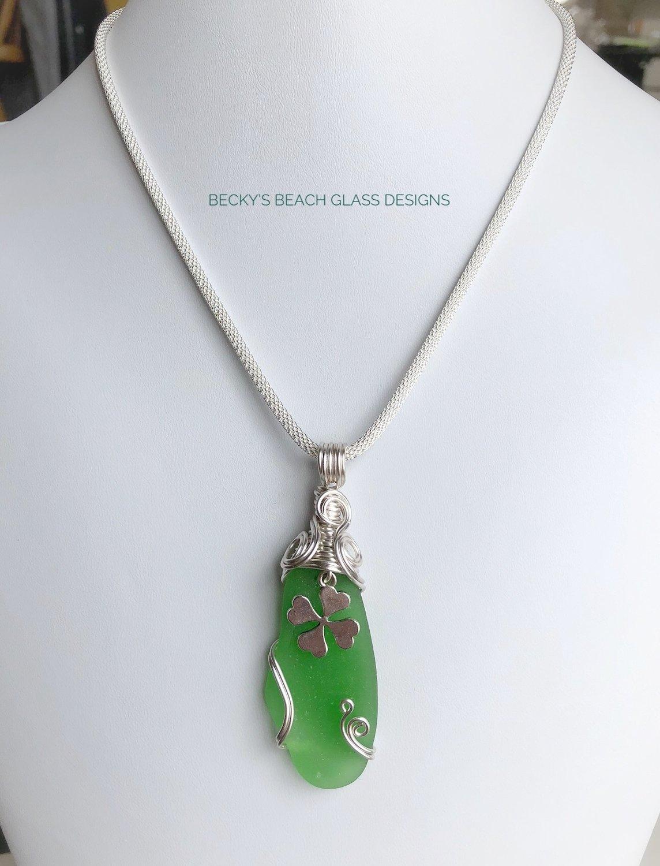 4 Leaf Clover Sea Glass Necklace