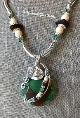 Stacked Brown & Green Sea Glass and Gemstone Combo Necklace