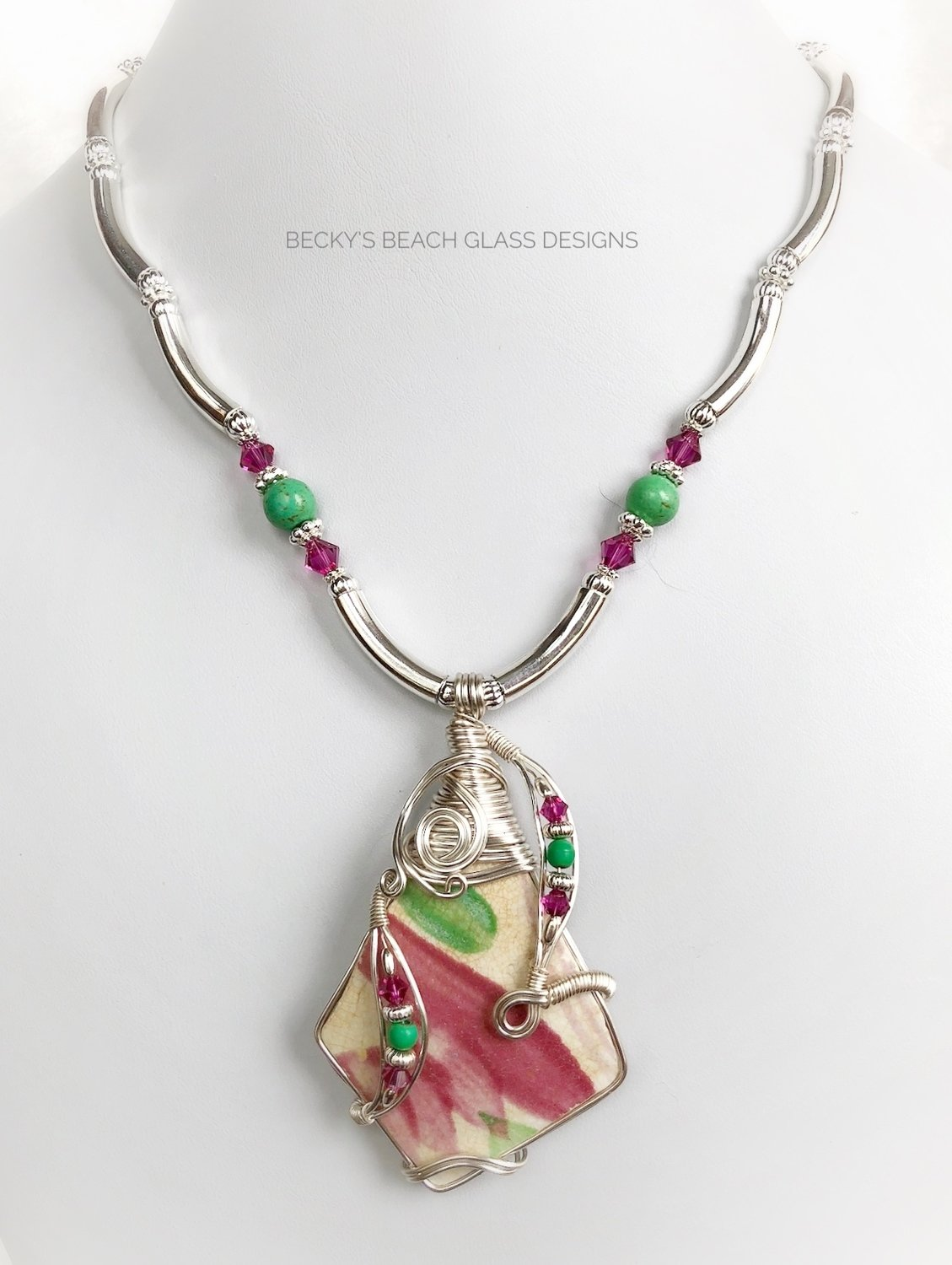 Raspberry & Leaf Green English Sea Pottery Necklace