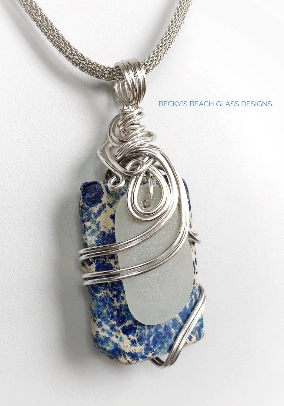 White & Blue Sea Glass & Gemstone Combo Necklace