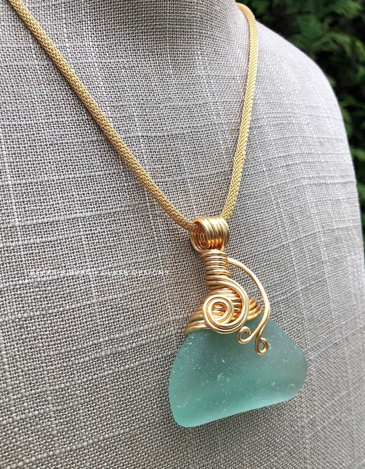 Large Scottish Sea Glass Pendant Necklace