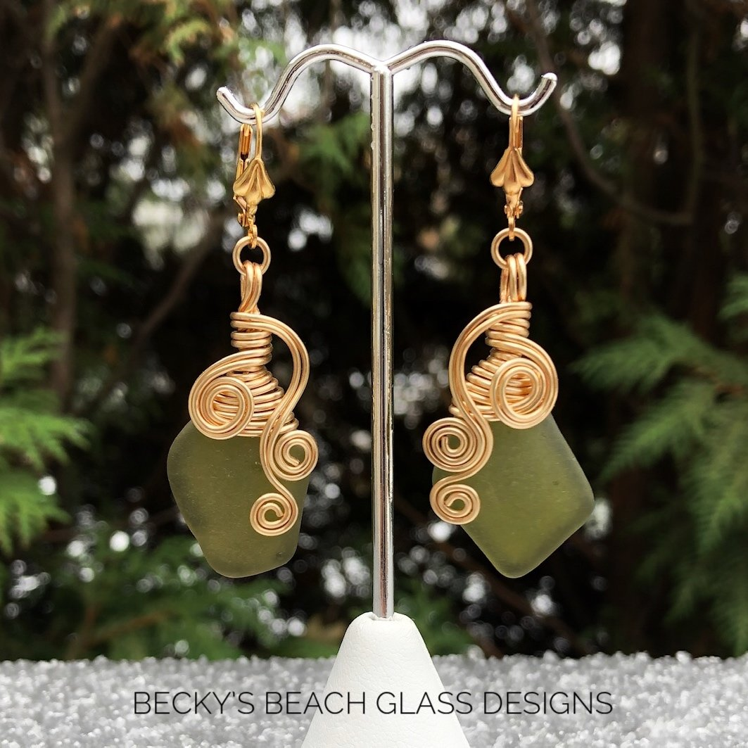 Gold Wire Wrapped Olive Sea Glass Earrings