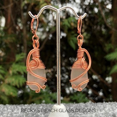 Copper Wire Wrapped White Sea Glass Earrings