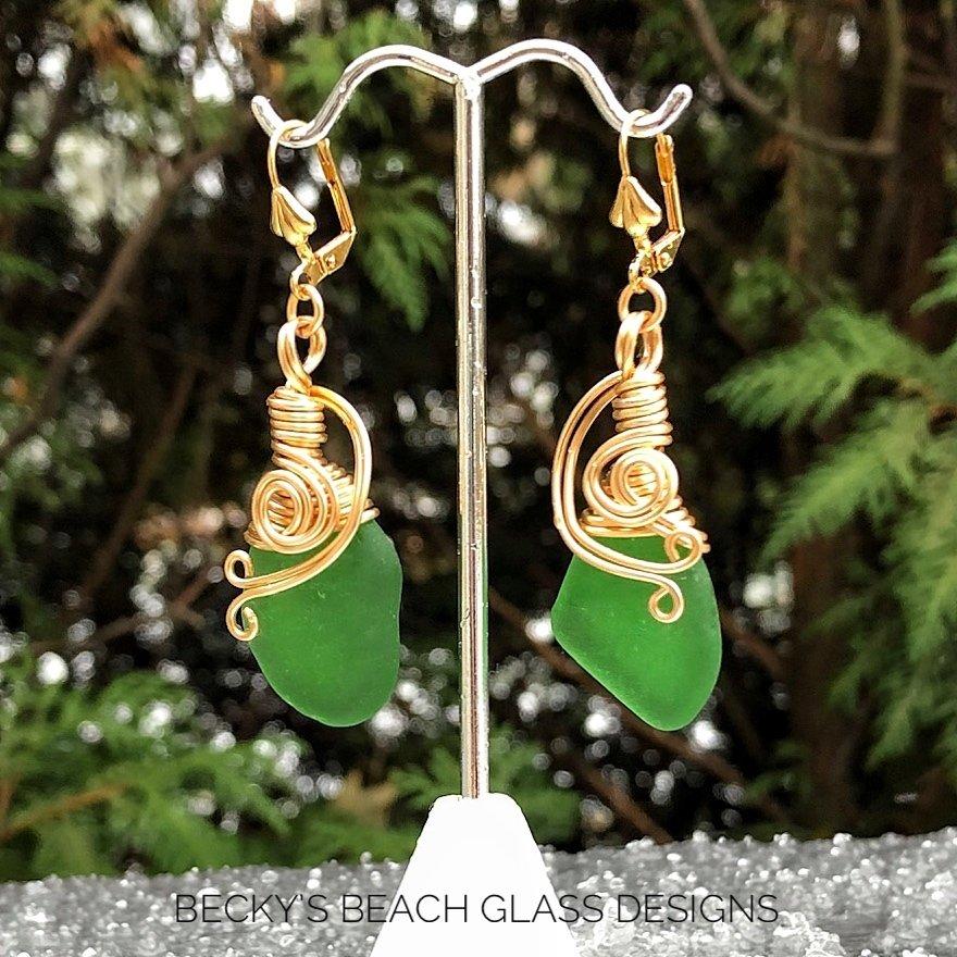 Gold Wire Wrapped Kelly Green Sea Glass Earrings