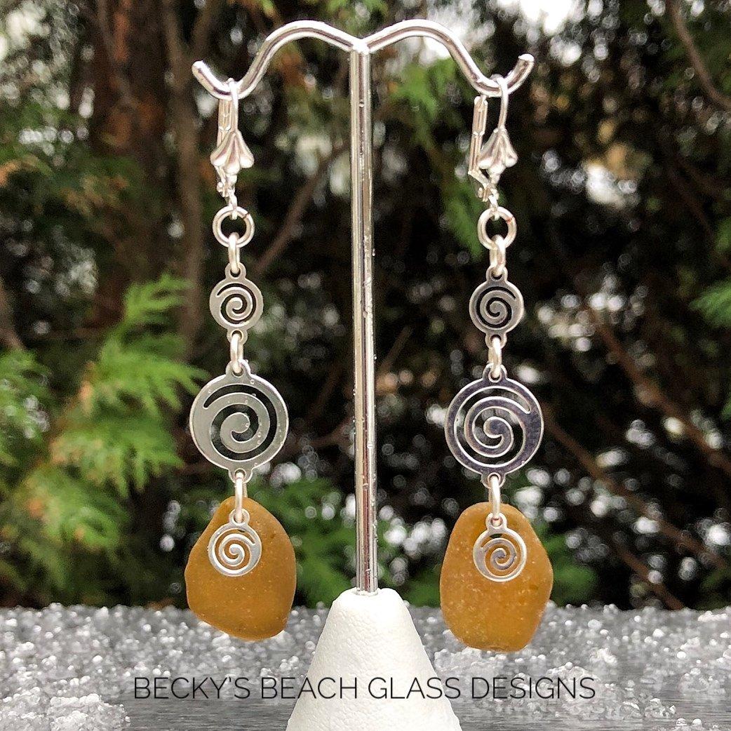 Silver Spiral Link Amber Sea Glass Earrings
